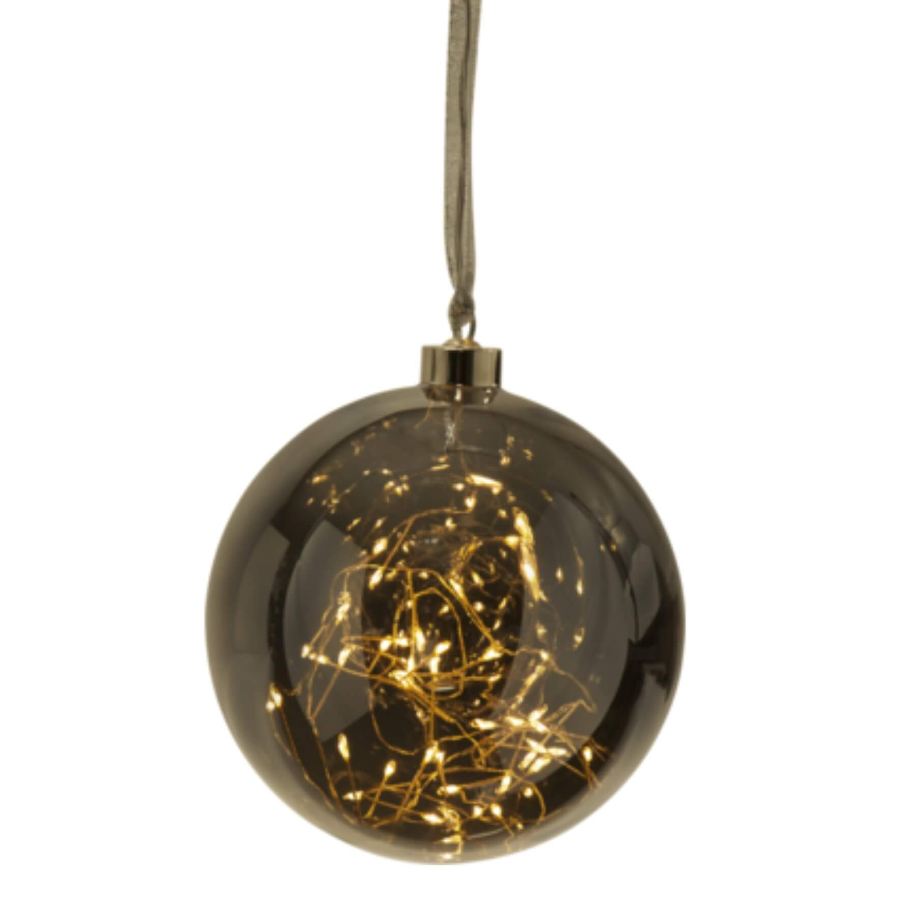 Boule de Noël fumée medium avec filament LED