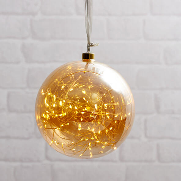 Boule ambre tall avec filament LED
