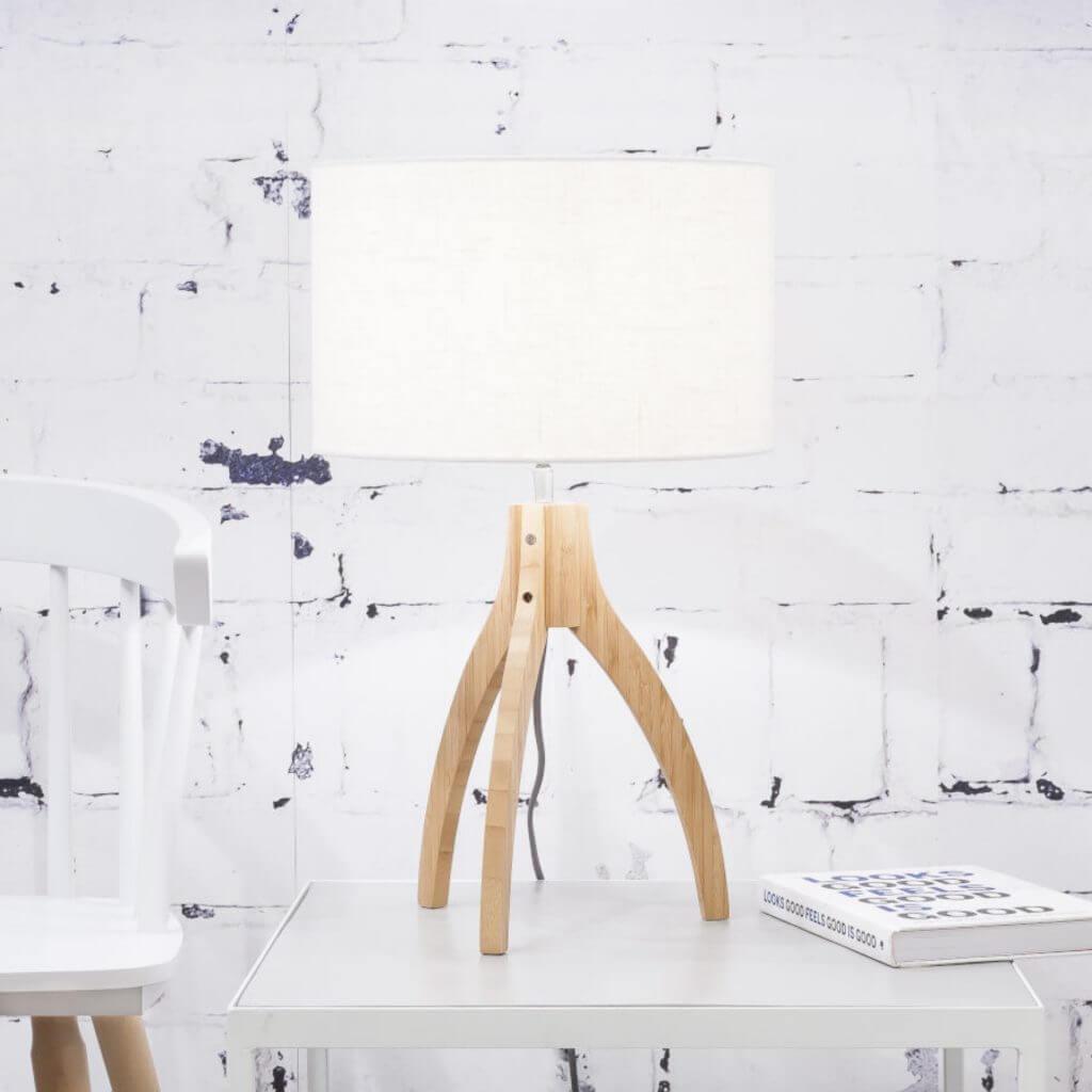 Lampe de table Annapurna avec abat-jour blanc
