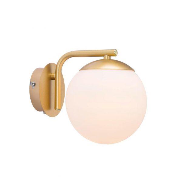 Applique murale globe opal doré
