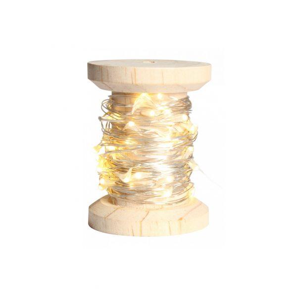 Guirlande en bobine LED argentée