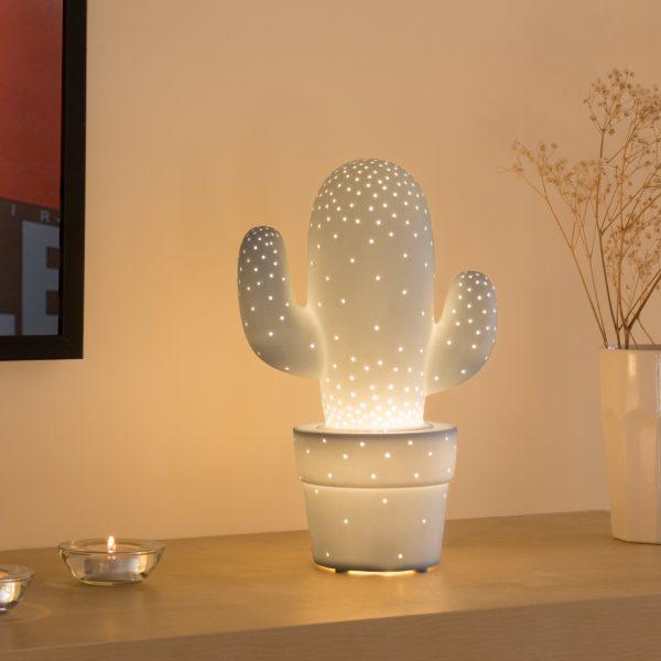 Lampe cactus en porcelaine biscuit