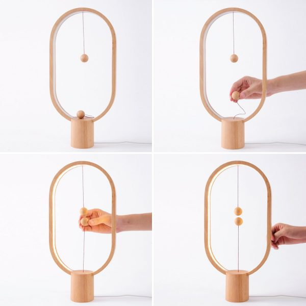 Lampe de table elipse Heng Balance bois naturel