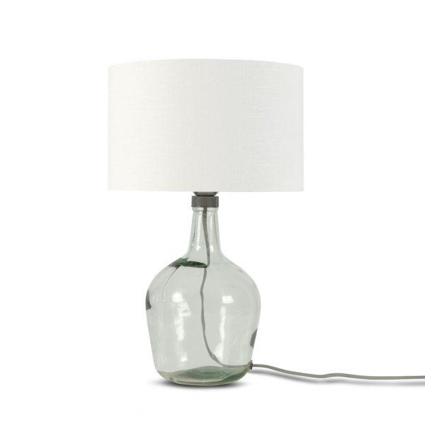 Lampe Murano en verre avec abat-jour blanc