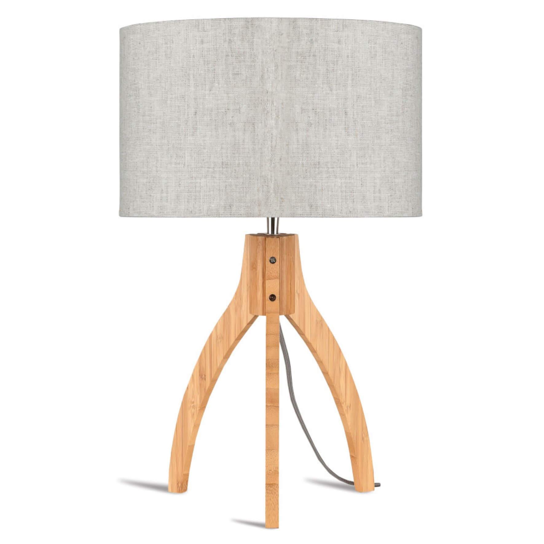 Lampe de table Annapurna avec abat-jour gris clair