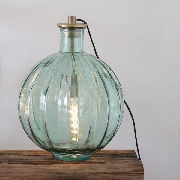 Lampe vase en verre Palloci vert d'eau