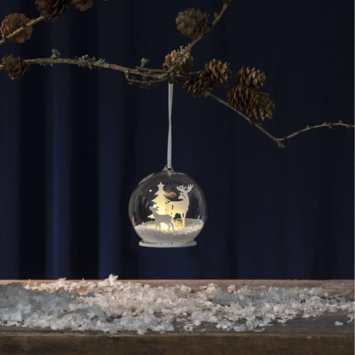 Trio boules à neige lumineuses Noël