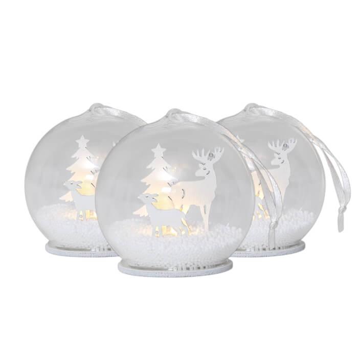 Leuchtendes Schneekugel-Trio Weihnachten