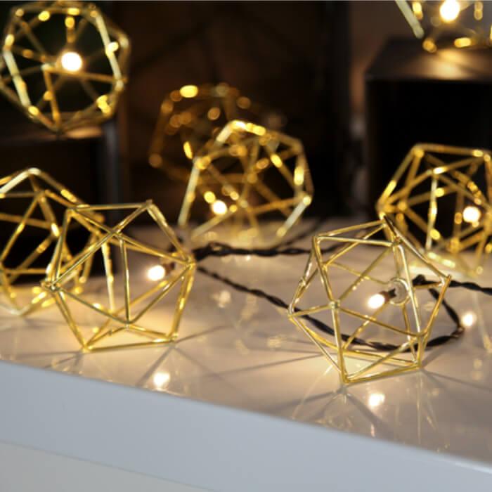 Guirlande Noël graphique dorée