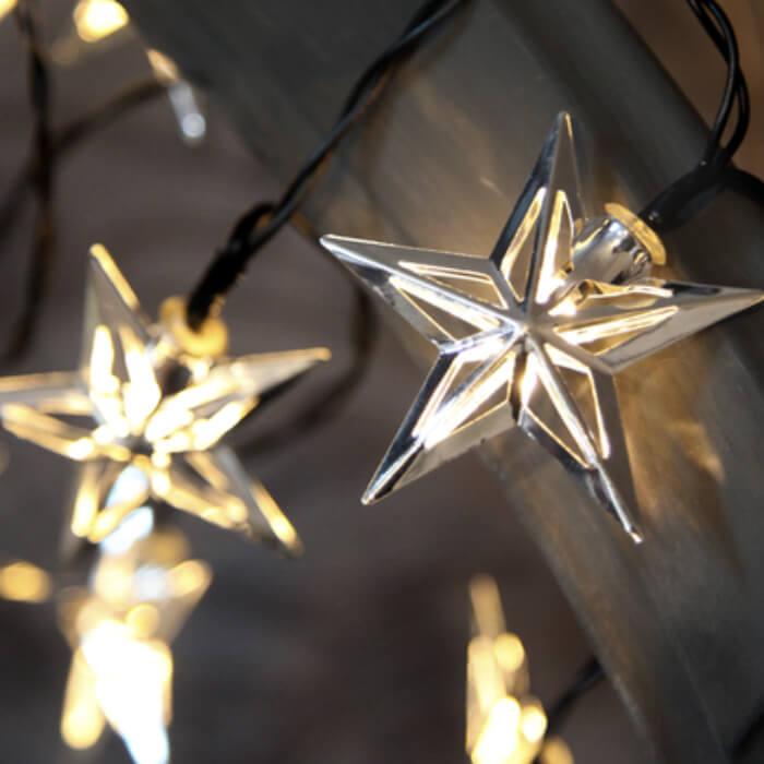 Guirlande Noël étoiles argent