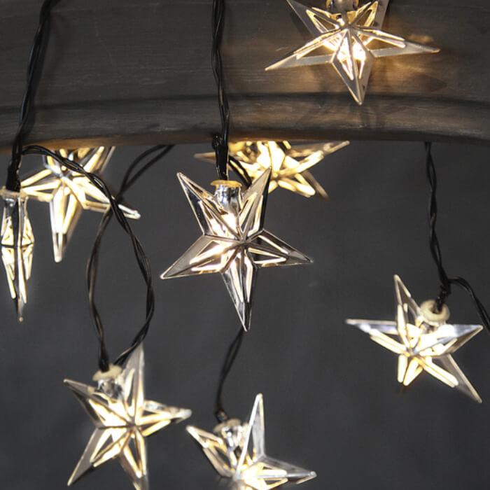 Lichterkette Sterne silber