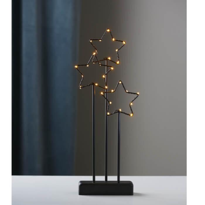 Trio étoiles de Noël LED sur socle