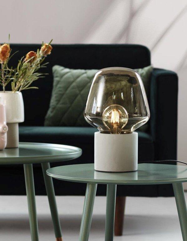 Tischlampe Christina aus Glas und Beton grau