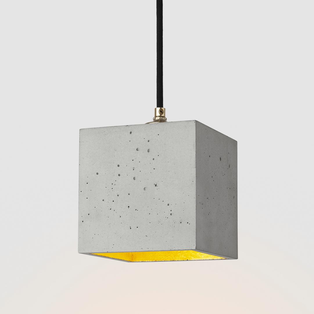 Suspension [B1] cubique béton gris et or GANTLights