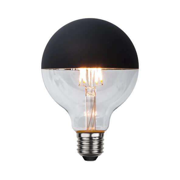 Ampoule LED globe à calotte noire mat