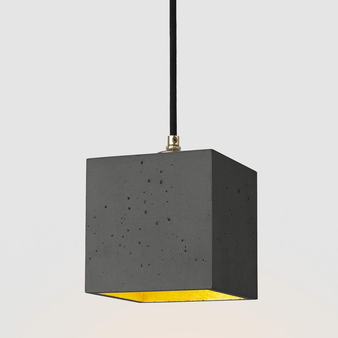 Suspension [B1] cubique béton noir et or GANTLights