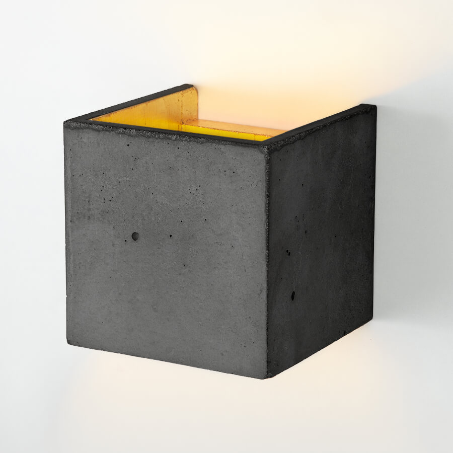 Wandleuchte [B3] aus Beton grau und gold GANTLights