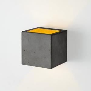 Applique murale [B3] cubique béton noir et or GANTLights