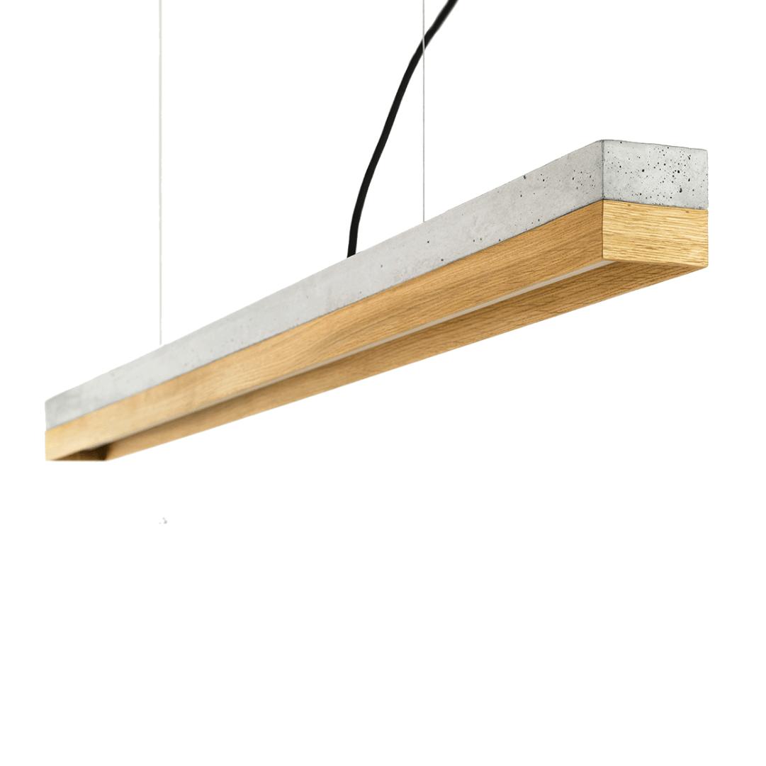 Hängeleuchte [C1] aus Beton und Holz 122cm GANTLights