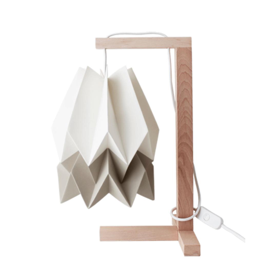 Lampe de table Origami Blanc polaire et Taupe - Orikomi
