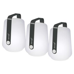 Lot de 3 lampes H.12 cm Balad Gris Carbone - Fermob