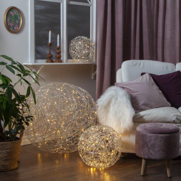 Décoration lumineuse boule argentée S intérieur-extérieur