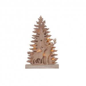 Décoration lumineuse cerfs en bois