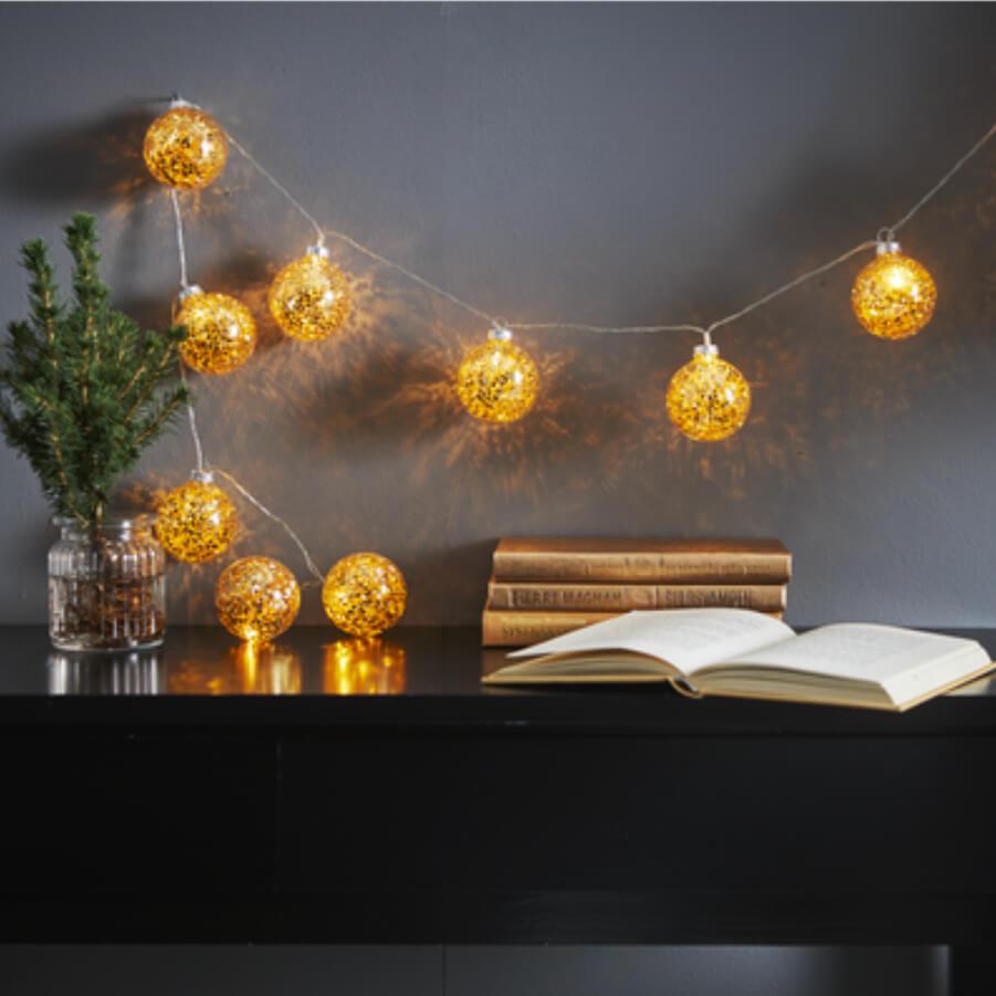 Guirlande Glitter LED dorée