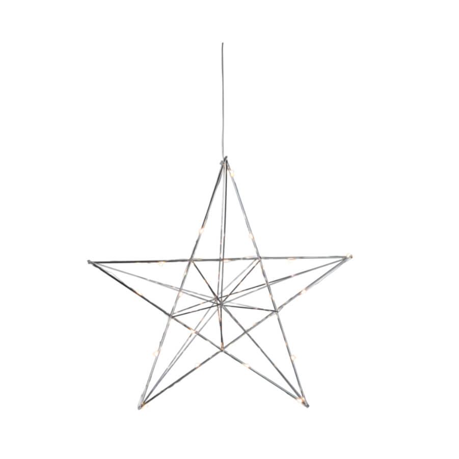 Décoration lumineuse LED étoile argentée