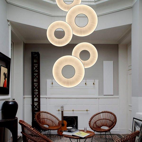 Suspension Iris verticale ivoire LED ∅60 cm - Dix Heures Dix